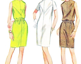 1960s Dress Pattern McCalls 9145 Sleeveless Dress Short Sleeve Mod Belted Shift Dress Slim Skirt DressWomens Vintage Sewing Pattern Bust 34