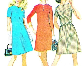 1960s Dress Pattern McCalls 2194 Mod Yoked A Line Mini Dress Long or Short Sleeve Dress Womens Vintage Sewing Pattern Plus Size Bust 46