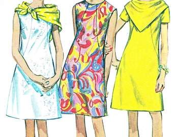 1960s Dress Pattern Simplicity 7469 Princess Seam A Line Mod Dress Triangular Scarf Womens Vintage Sewing Pattern Bust 32 1/2