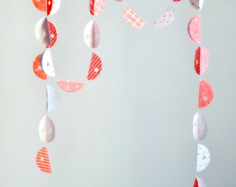 SALE Scallop Fold Stitched Paper Garland Micro Print Orange Nursery Child Bedroom Home Decor Bunting Gift under 20