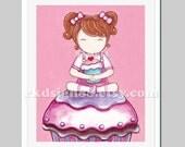 Kitchen wall art, cupcakes art print, baby girls nursery decor, kids wall art, baby decor, children art print, red hair, My Lovely Cupcake