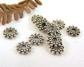 Lead Free Pewter Spacers (24) 8mm Bali Style Daisy Snowflake Granulated Beads - Antique Silver - AutEvDesigns Destash