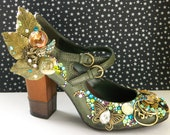 Rhinestone covered Mary Jane heals - Fairy Shoes decorated with crystals,found jewelry,filigree (Size 5 USA) bespoke design