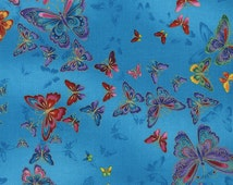 Butterflies Blue Tiffany Timeless Treasures Fabric 1 yard