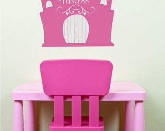 Princess Castle Wall Decal - Vinyl Text Wall Words Stickers Art
