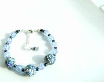 BRACELET - Blue & Grey Clay and Glass