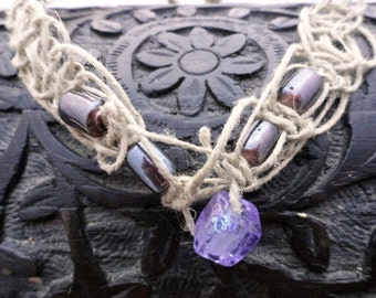 Dichroic Glass Hemp Necklace with Lavender Dichroic Bead and Dark Purple Glass Accent Beads