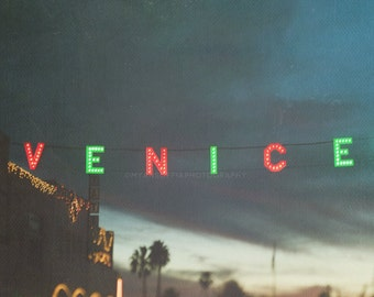 Venice sign photo, LA holiday decor, Holiday lights, red green, sparkle, Los Angeles print, Venice photograph, night, California, bokeh