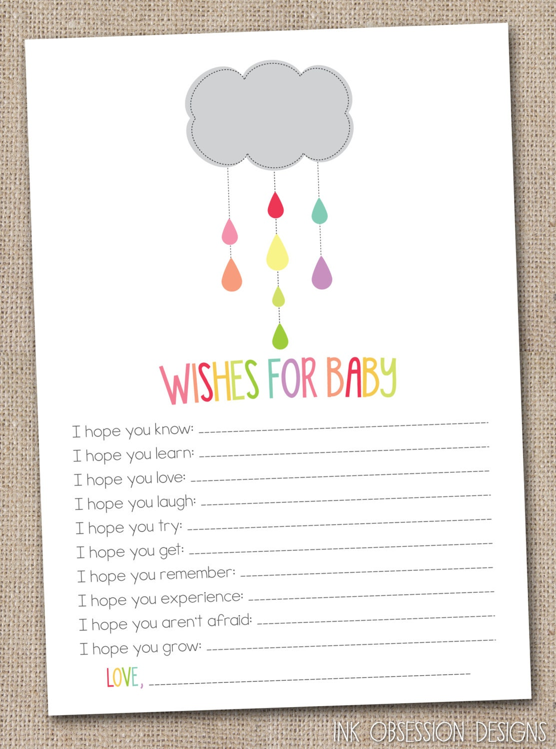 Insane image pertaining to wishes for baby printable