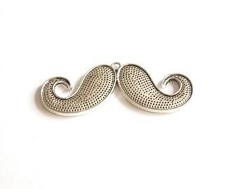 1pc Matte Silver plated Mustache Pendant-70x25mm (408-019SP)
