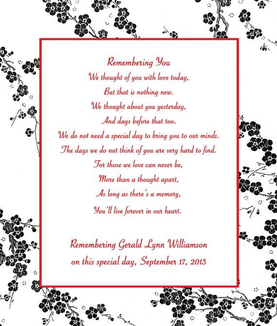 In Loving Memory Cards - Custom Wedding Memorial Poem - DIGITAL FILES - DIY Printable - Remembering You
