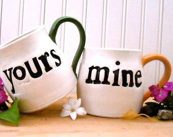 Yours & Mine Coffee Mugs - 2-Piece Couples Cup SET - HandMade Modern Tea Espresso Mugs, Letterpress Stamped Wedding 8th 9th Anniversary Gift