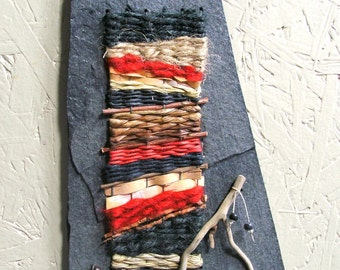 Miniature Fiber Art Weaving for your Wall SALE was 99.00