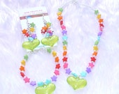 Stars and Hearts Jewellery Set - Kawaii stars in rainbow colours and green heart charms necklace, bracelet and earrings set