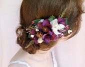 eggplant wedding hair flower, purple hair clip, purple hair comb, rustic wedding hair piece, floral hair piece, bridal headpiece, pinecones