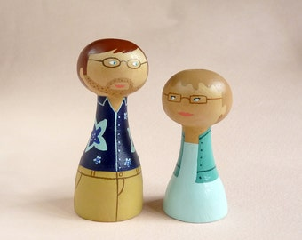 FREE SHIPPING Custom granparents portrait wedding anniversary - Personalized - Wooden art doll hand painted blue teal aqua