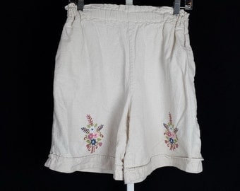 Beige Cotton Floral Embroidered Shorts 80s XS S