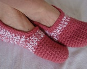 Slipper Shoes - House Shoes  - Moccasin - Rose Pink  and White - Women - Size 8