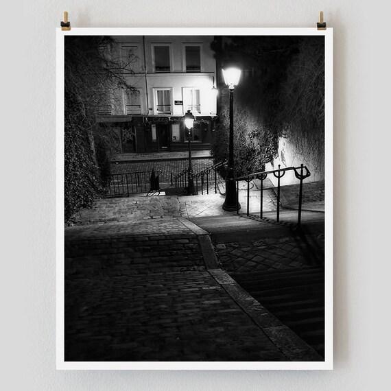 """Paris Print, Black and White Photography, """"Paris Noir 8"""" Extra Large Wall Art, Fine Art Print Paris Photography, Film Noir"""