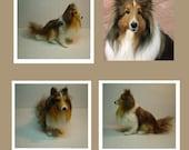 Needle felted custom Dog Memorial sculpture pet portrait Shetland Sheepdog