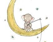 Children's Art --- Starfishing Elephant -- Archival Print