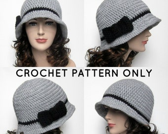 PDF Crochet Pattern, Cloche Hat with Bow, Womens Flapper Hat, Instant Download