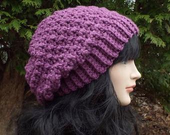 Purple Crochet Hat, Womens Slouchy Beanie, Oversized Slouch Beanie, Chunky Hat, Slouchy Hat, Winter Hat, Slouch Hat, Baggy Beanie