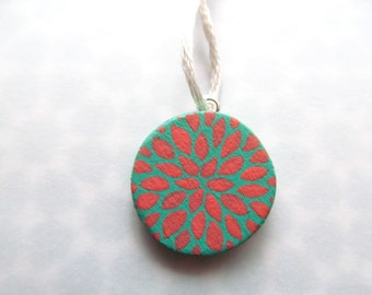 petite pendant - petal burst in mint green and coral