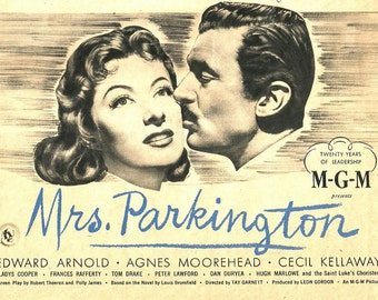 Vintage Magazine Movie Ad - Movie Star Print - 1944 Mrs Parkington - Greer Garson - Walter Pidgeon - Vintage Movie Advertisement Art - 1944