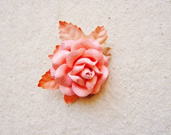 Apricot Sweetheart Peach Malt Ombre Maple and Rose Corsage Vintage style Millinery Flower brooch pin- floral shabby chic, 4814 ooak