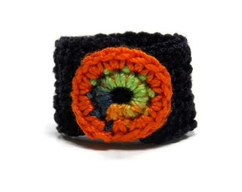 Crochet Ring Fiber Ring Circular Applique Orange Green Yellow Blue On A Black Fiber Band