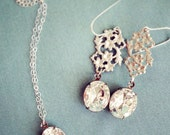 Bridesmaid jewelry set, Vintage oval rhinestone matching earrings necklace, Wedding party gift