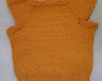 SMALL hand knit cotton baby's vest in carrot orange