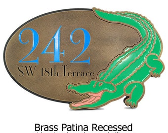 """Painted Alligator Crocodile Address Plaque Custom Name plaque if you like 16"""" w x 10.5"""" h by Atlas Signs"""