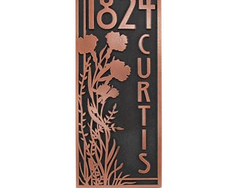 "Vertical Poppy Address Plaque. Vertical Numbers. House address plaque 7.5"" W x 18"" H. Made in USA"