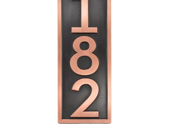 "Neutraface Modern House Numbers. Vertical Numbers. House address plaque 7"" W x 18"" H. Made in USA"