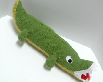 Handmade Knit Toy - Alligator Toy - Alligator Baby Shower - Alligator Birthday