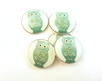 """5 Owl buttons. Handmade buttons.  3/4"""" or 20 mm round Turquoise Blue Owl Buttons for Sewing."""