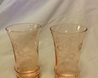 CLEARANCE SALE!! Pair Gorgeous Elegant Glass Etched Pink Tumblers