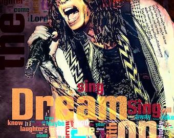 Print Steven Tyler AEROSMITH music poster  Birthday Gift art Dream on poster AEROSMITH illustration print canvas giclee