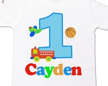 first birthday boy shirt - favorite things firetruck, plane and basketball