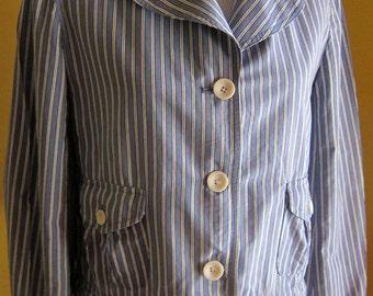 Vintage 1990s Blazer, Elliott Lauren Edwardian-Style Blue and Cream Striped Blazer with Cream Lace Ruffles at Wrist and Waist, Size 12