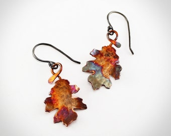 Copper Leaf Earrings with sterling silver ear wires colorful fall autumn jewelry hammered metal leaves