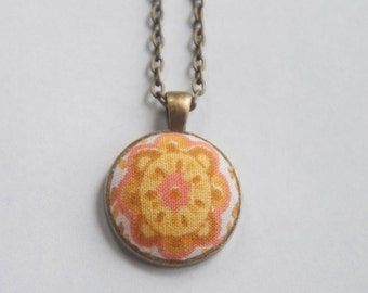 SALE!! Prices reduced up to 50% - orange and peach vintage fabric pendant