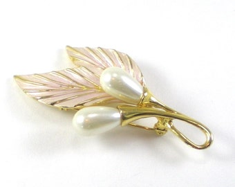 Calla Lily Flower Brooch Pin - Pink White Enamel Faux Pearl - Vintage Jewelry