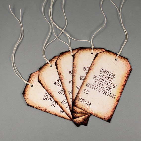 5 Vintage Gift Tags, Brown Paper Packages Tied Up with String, Sound of Music