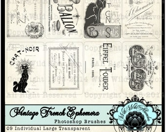 Vintage French Ephemera Photoshop BrushTag Set  ACEO Size, ATC, Pocket Journal Cards, Gift Tags, Clipart Tags