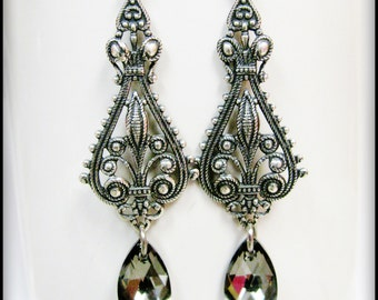 Antique Silver Filigree and Swarovski Silver Night Earrings
