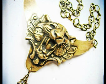 Statement Necklace. Lions Head Bib Necklace with Black Swarovski Crystal. Game of Thrones Inspired.
