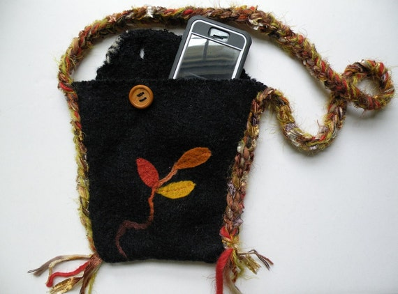 Cell phone bag case purse handbag, Samsung Galaxy Note Mega Android smartphone needle felted autumn wool leaves Bohemian bag with strap i657